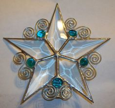 Small Glass Tree Topper, Whimsical Beveled Star Six Inches Stained Glass Christmas, Stained Glass Projects, Christmas Tree Toppers, Glass Christmas Ornaments, Beveled Glass, Mosaic Glass, Fused Glass, Clear Glass, Glass Art