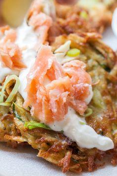 Potato pancakes and salmon