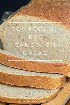 Sourdough Rye Sandwich Bread is a tangy, easy to slice rye bread with a secret ingredient (hint: it's not the sourdough starter discard). Rye Bread Recipes, Sandwich Bread Recipes, Sourdough Recipes, Homemade Rye Bread, Sourdough Bread Starter, Sourdough Rye Bread Recipe King Arthur, Jewish Rye Bread, Muffins, Bread Baking