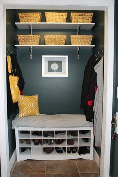 Coat Closet turned Mud Room Nook | Heroth Home