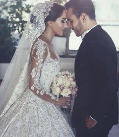 Long Sleeves Arabic Wedding Dresses With Long Train Robe De Mariee Sexy Sheer Neck Lace Appliqued Beaded Wedding Gowns. Custom Made Designer Wedding Dresses Arabic Wedding Dresses, Beaded Wedding Gowns, Arab Wedding, Dream Wedding Dresses, Bridal Dresses, Wedding Day, Wedding Venues, Lebanese Wedding Dress, Wedding Bride