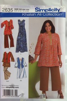 Simplicity 2635 Women's and Women's Petite Dress in Two Lengths or Tunic, Cropped Pants and Vest.