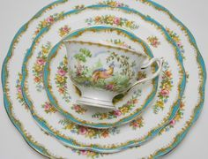 "Royal Albert ""Chelsea Bird"" Quad Tea Cup Saucer Salad and Dinner Plate Vintage Fine Bone China Made in England by TheVintageFind1 on Etsy https://www.etsy.com/au/listing/291527821/royal-albert-chelsea-bird-quad-tea-cup"