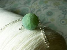 Lost Your Marbles - aqua sandblasted amazonite marble sterling silver necklace. $20.00, via Etsy.