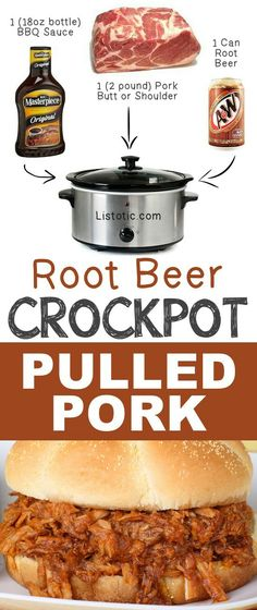 Root Beer Pulled Pork - 12 Mind-Blowing Ways To Cook Meat In Your Crockpot Crockpot Dishes, Crock Pot Slow Cooker, Crock Pot Cooking, Slow Cooker Recipes, Cooking Recipes, Crockpot Meals, Dishes Recipes, Cooking Ribs, Crock Pots