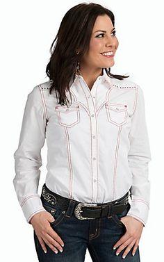 Ariat Women's Nina White Long Sleeve Western Snap Shirt | Cavender's