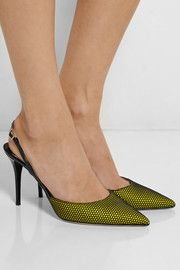 Jimmy ChooTilly honeycomb-mesh and patent-leather pumps