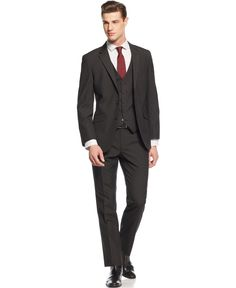 Unlisted by Kenneth Cole Black Grid Vested Slim-Fit Suit - Shop ...