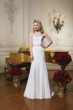 tyle 8770 Chiffon fit and flare dress with a #sweetheart neckline @jabridal