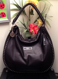 DKNY GANSVOORT LARGE BLACK GENUINE LEATHER HOBO BAG W MINI STUDS HANDBAG  ( 395) Ummmmmmmmm I have an anniversary coming up next month  -) 5a9e30fbf8cc0