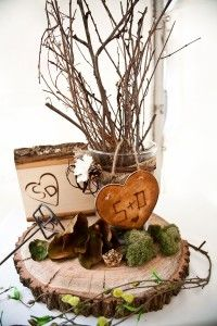 wood wedding centerpiece