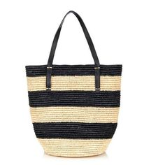 Sensi Studio Maxi straw striped tote ($245) ❤ liked on Polyvore featuring bags, handbags, tote bags, beach bag, purses, black multi, summer totes, straw beach tote, black tote and black handbags
