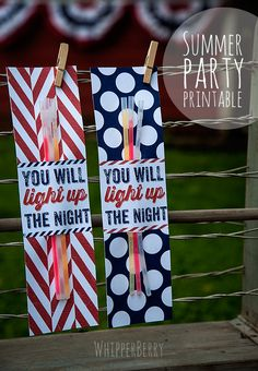 Summer Printables {Glow stick or sparkler wrapper in red, white, and blue prints} from Heather whipperberry.com | theidearoom.net