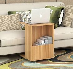 Sofa Side Table with Magazine Holder (Natural Oak)
