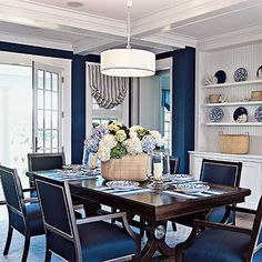 2006 Idea House New England Classic Blue Dining RoomsDining Room