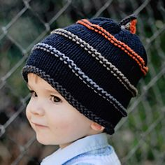 2H Handknits Blue Knit Striped Hat