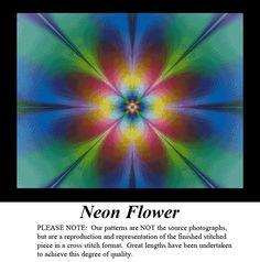 Neon Flower, Fleur-de-lis to the 4th Power, Artful Designs & Fractals Cross Stitch Pattern, Kit & Digital Download #pinterestcrossstitchpatterns #crossstitch #pinterestgifts