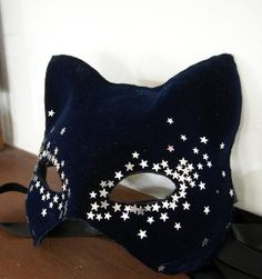 Blue velvet and Silver Star cat mask