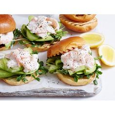Prawn And Avocado Sliders recipe | Food To Love- to make low carb, will use recipe for cloud bread <3