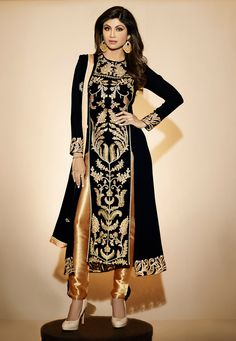 Shilpa Shetty Black Heavy Embroidery Sequins Work And Zari Work Party Wear Churidar Suit. buy online shopping salwar kameez at -Hyderabad. designer anarkali suit, salwar kameez, kameez, long dresses, churidar suit at angelnx. Bollywood Designer Sarees, Indian Designer Sarees, Designer Anarkali, Latest Saree Blouse, Saree Blouse Designs, Churidar Suits, Salwar Kameez, Anarkali Suits, Punjabi Suits