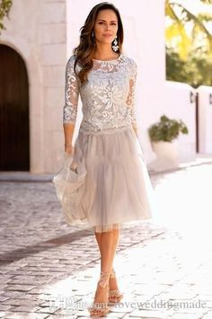2018 New Short Mother Of The Bride Dresses Lace Tulle Knee Length 3/4 Sleeves Mother Formal Party Gowns Hottest Gowns For Mother Of The Bride Gray Mother Of The Bride Dresses From Loveweddingmade, $84.43| Dhgate.Com #Bridesspecialshoes