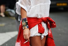 Classic cuff between tribal bracelets. Layer at will