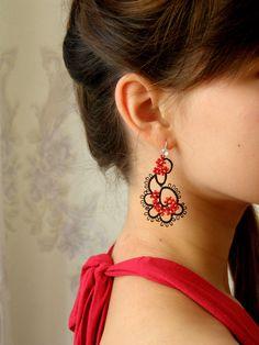 Tatting Jewelry, Long Earrings, tatting earrings Tatting Lace earrings Handmade jewelry Chandelier earrings Black&Red earrings Gift for her Tatting Schmuck, Lange Ohrringe, Tatting Ohrringe Tatting Lace Ohrringe Handgemachter Schmuck Kronleuchter Bracelet Tatting, Tatting Earrings, Tatting Jewelry, Lace Earrings, Tatting Lace, Unique Earrings, Earrings Handmade, Crochet Earrings, Handmade Jewelry
