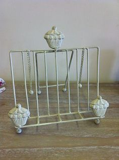 cream cupcake book stand vintage chic shabby country kitchen