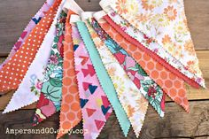 Mint Peach Coral Vintage Fabric Bunting, Fabric Flags, Vintage Pennant Banner, Birthday Party Decor, Cake Smash Photo Prop, Funky Fresh