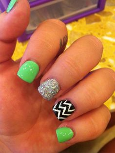 Lime green with silver glitter and chevron print