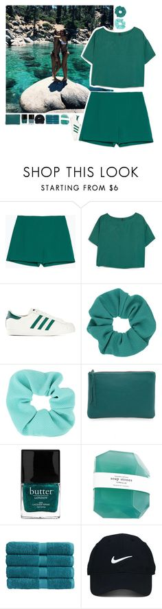 """aqquaaa"" by puhizaxox ❤ liked on Polyvore featuring Zara, MANGO, adidas Originals, Topshop, Oliveve, Butter London, Christy and Nike Golf"