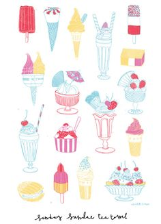 Sundae Sunday Tea Towel