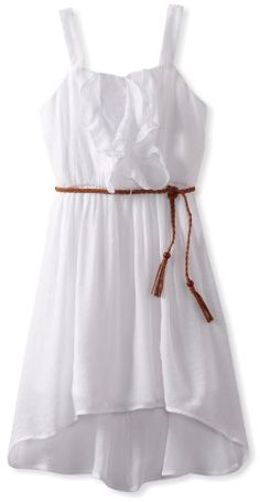 jr bridesmaid dresses 7-16 with cowboy boots | Amy Byer Girls 7-16 Gauze High-low Dress with Braided Belt