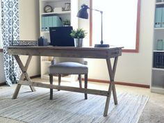 Computer cords hanging all over the place? Here is a simple tutorial on how to hide cords in your office. Home Office Space, Home Office Design, Home Office Furniture, Home Office Decor, Office Ideas, Home Decor, Office Inspo, Library Design, Desk Ideas