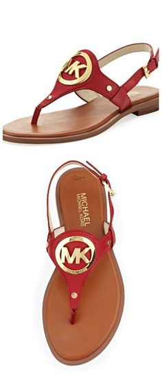 Michael Kors ● Red Aubrey Logo Sandal  Christmas in July: FREE shipping in US through August 1, 2016 silk scarf, soft, silky, each one is original, one of a kind, truly a work of art, hand dyed, each stroke strategically placed, get yours today! etsy.com/shop/SowingAcorns