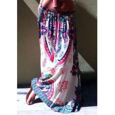 Mid Waisted Printed Waist Drawstring Maxi Skirt