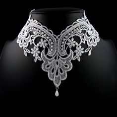 White Lace Choker Necklace Romantic Victorian Collar by Arthlin Lace Necklace, Lace Jewelry, Floral Necklace, Wedding Jewelry, Jewelry Necklaces, Geek Jewelry, Diy Jewelry, Pendant Necklace, Victorian Collar