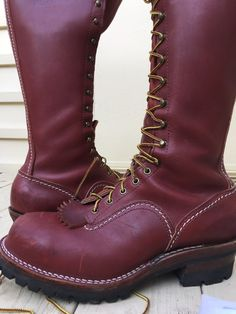 US $210.50 Pre-owned in Clothing, Shoes & Accessories, Men's Shoes, Boots Laced Boots, Combat Boots, Mens High Boots, Logger Boots, Red Wing Shoes, Steel Toe, Ageing, Tall Boots, Leather Shoes