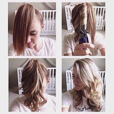 Lets face it, no one wants to spend hours on their hair . but we want to look like we did. Here is a fast way to curl your hair and look fab all day long. - How To Curl Your Hair Fast Curled Hairstyles, Diy Hairstyles, Pretty Hairstyles, Summer Hairstyles, Lazy Girl Hairstyles, Hairstyle Hacks, Brunette Hairstyles, Corte Y Color, How To Curl Your Hair