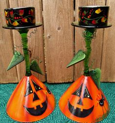 Halloween Jack o Lantern Martini Glass Candle by PaintingByEileen, $12.00