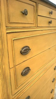 Items similar to SOLD EXAMPLE .Chalk painted dresser/Chest of Drawers Annie Sloan Chalk Paint /Painted Furniture on Etsy Yellow Chalk Paint, Yellow Painting, White Chalk, Chalk Painting, Chalk Paint Dresser, Chalk Paint Furniture, Furniture Makeover, Home Furniture, Furniture Stores