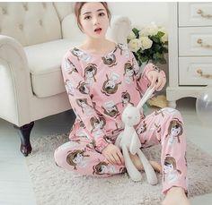 Spring Autumn 20 Style Thin Carton Generation Women Long Sleepwear Suit Home Women Gift Female Sleep Top Wholesale Pajamas
