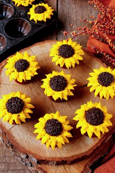 These Sunflower Cupcakes are chocolate cupcakes decorated with buttercream frosting and look just like real sunflowers.