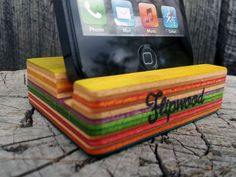 Flipwood smartphone iphone stand recycled skateboards upcycled skateboard