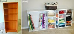 fabric storage - turn bookshelf on side and add shelves!