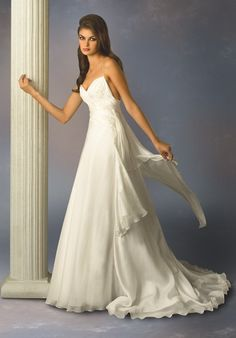 Description: Lightweight gown with spaghetti straps, a line silhouette. Chiffon fabric. Floaty dress for brides who like romance. Color   available: White, Ivory. Fabric: Chiffon Embellishment: Embroidery Silhouette: A-line Sleeves: Sleeveless Neckline: Sweetheart Back: Zipper Hemline: Floor-length<br…