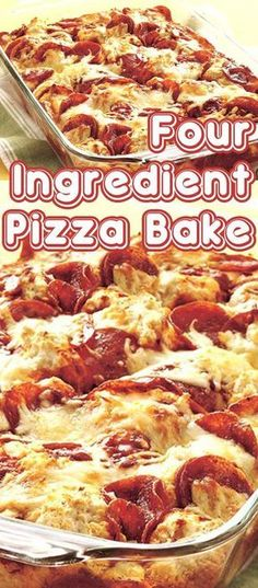 Pizza Bake is part of Pizza bake, Pizza casserole, Recipe for Casserole recipes, 4 ingredient recipes, Oven recipes - You'll make quick work out of dinner with this Pizza Bake that's in the oven in less than 15 minutes Ingredient Pizza, 3 Ingredient Dinners, 4 Ingredient Recipes, Easy Casserole Recipes, Easy Dinner Recipes, Crockpot Recipes, Easy Meals, Cooking Recipes, Pizza Recipes