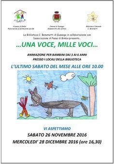 """Sabato 26 novembre continuano le letture per bambini """"…una voce, mille voci…"""" - http://www.gussagonews.it/letture-bambini-una-voce-mille-voci-novembre-2016/"""