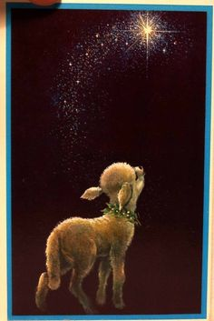 Lamb Sees the Star-Vintage Christmas Card-Greeting Vintage Christmas Cards, Vintage Holiday, Christmas Greeting Cards, Vintage Cards, Christmas Scenes, Christmas Animals, Christmas Past, Christmas Card Pictures, Christmas Pictures