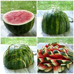 How-to-Cut Watermelon Sticks a four-step process for cutting watermelon. Serve at an elegant dinner party or backyard BBQ. simplysated.com
